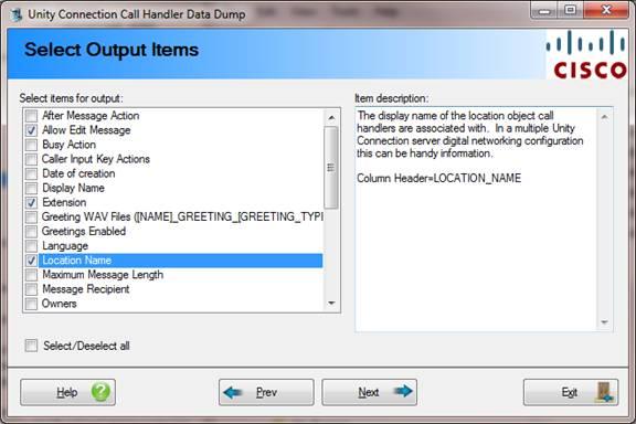 Cisco Call Handler Data Dump