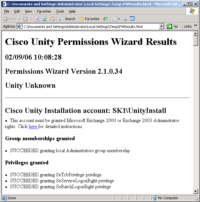 Granting Permissions with Cisco Unity 4 2(1)+ Permissions Wizard