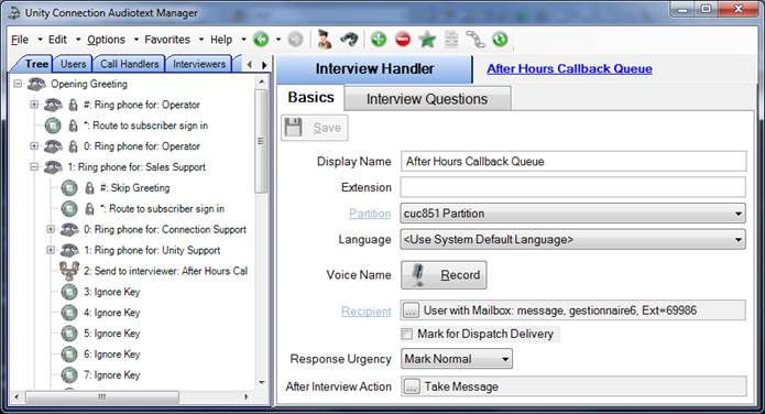 Connection Audiotext Manager